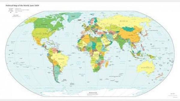 矢量世界地图彩色平面版素材