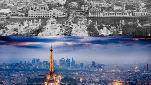 22世界各地城市天际线的前后照片