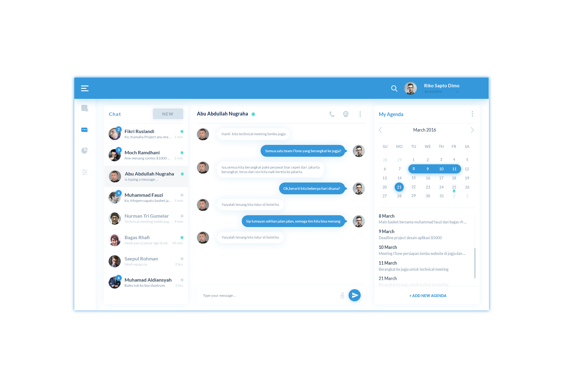 Chat Dashboard PSD  Layout