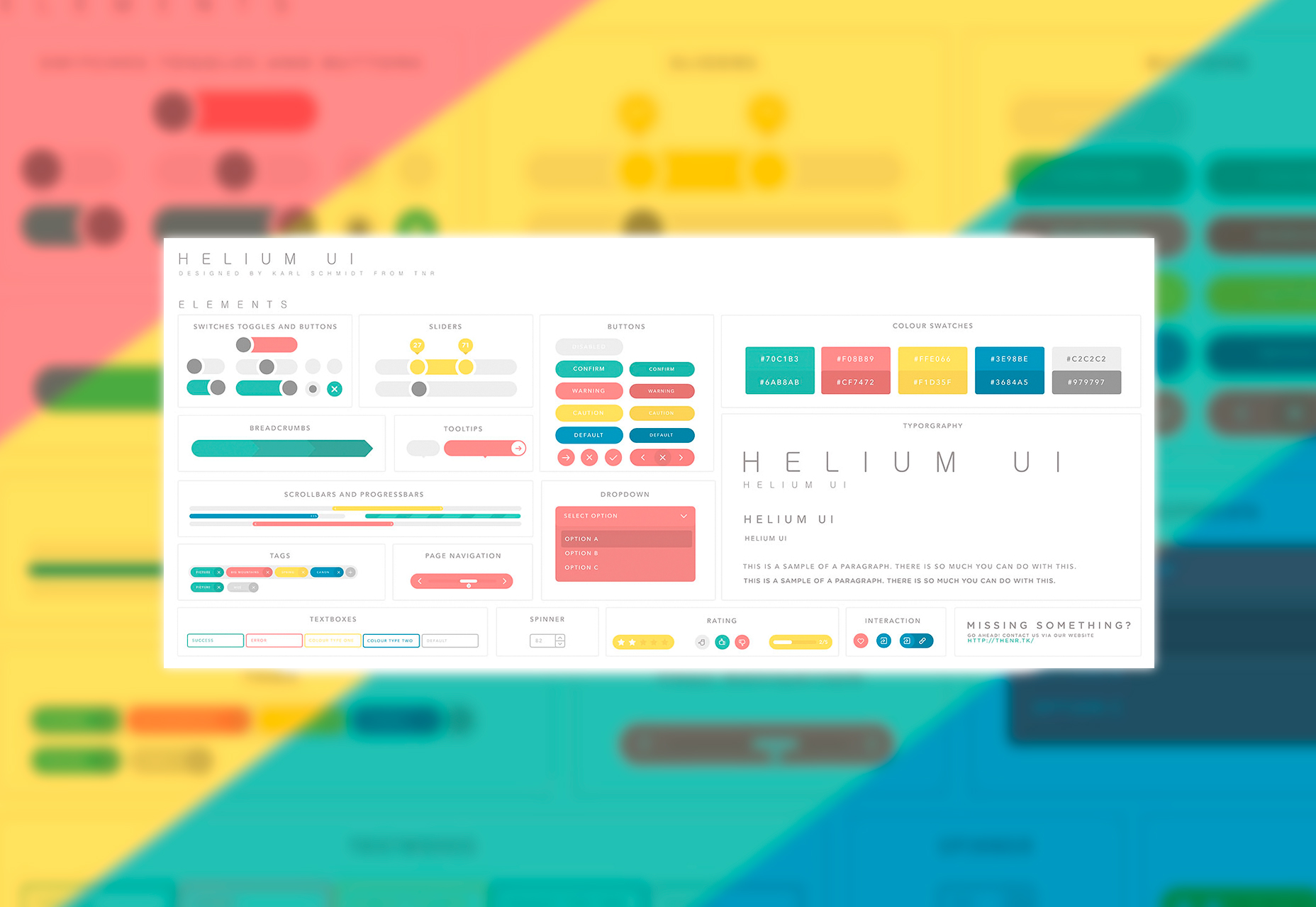 Helium UI: Colorful Sketch UI Kit
