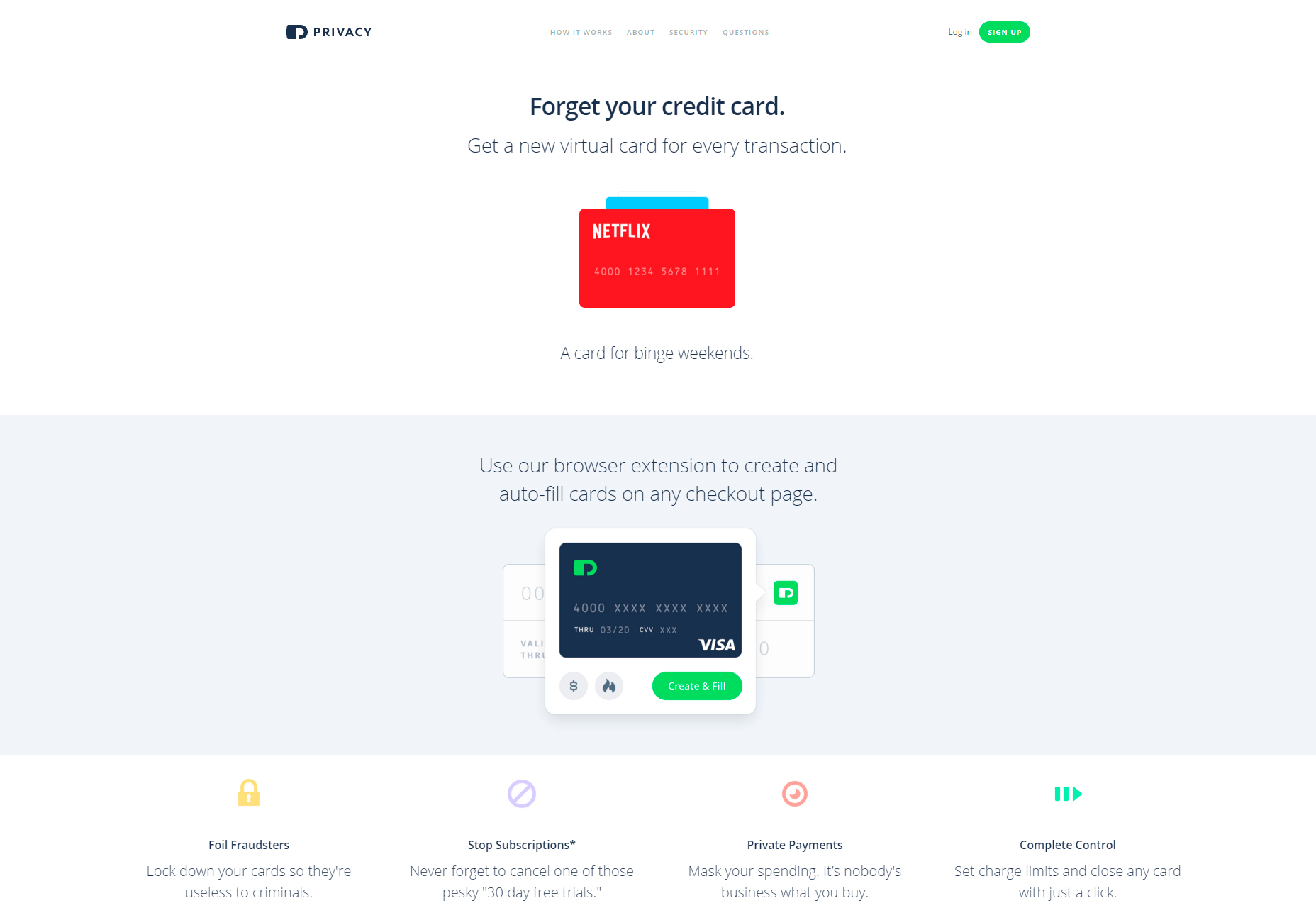Privacy: Your On-browser Credit Cards