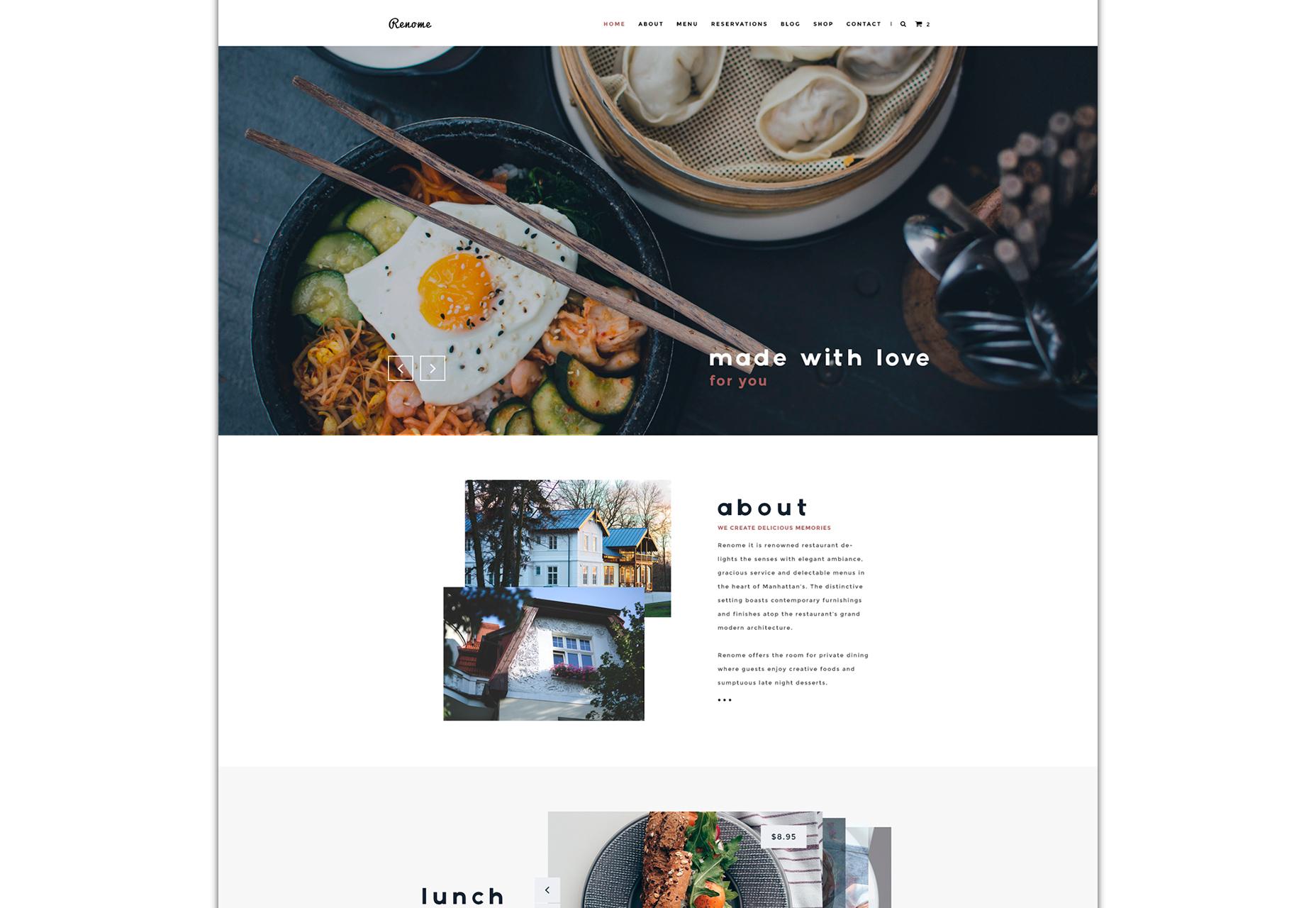 Renome: Clean Restaurant PSD Template