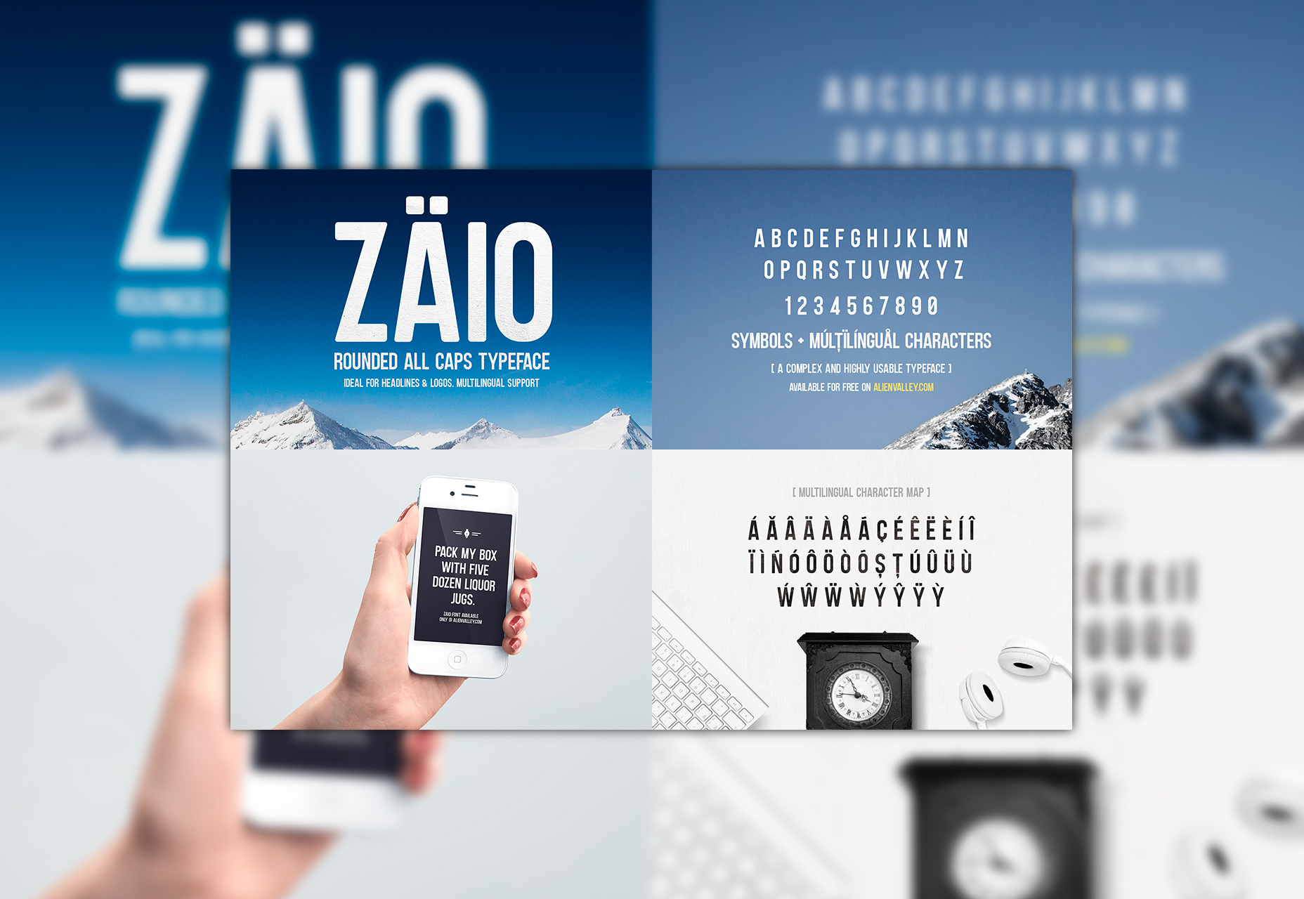 Zaio: Rounded Corners Uppercase Font